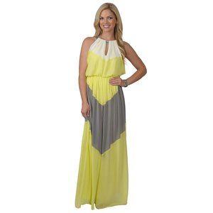 Vince Camuto Colorblock Chiffon Maxi Dress 22 Plus